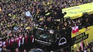 Dortmund celebrating the domestic double. youtube.com capture